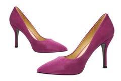 桃红色绒面革高跟鞋 免版税图库摄影