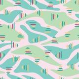 桃红色绿色抽象风景无缝的样式背景 库存例证