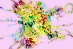 桃红色绿色泥泞的嬉戏的形状,形式,抽象淡色颜色 库存图片