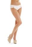 桃红色缎内裤和高跟鞋鞋子 免版税库存图片