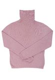 桃红色羊毛卷脖子毛线衣 免版税库存照片