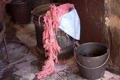 桃红色羊毛在市场上 免版税库存照片