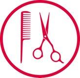 桃红色美发师标志 库存例证