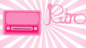 桃红色老减速火箭的女性古色古香的葡萄酒长方形第一台行家收音机,有圆的音量控制的音乐无线电接收机与ins 向量例证