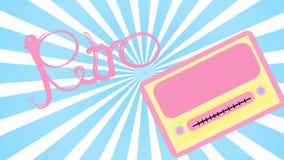 桃红色老减速火箭的女性古色古香的葡萄酒长方形第一台行家收音机,有圆的音量控制的音乐无线电接收机与ins 皇族释放例证