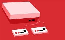 桃红色老减速火箭的行家长方形容量葡萄酒古董比赛在桃红色背景的控制台以两喜悦和按钮 库存例证