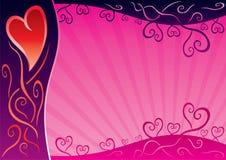 桃红色背景模板为情人节 向量例证