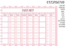 桃红色背景的办公室月度计划者与心脏 免版税图库摄影