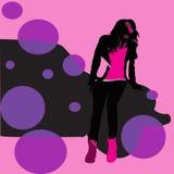 桃红色背景,女性剪影,图表 免版税库存图片