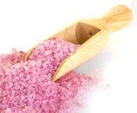桃红色腌制槽用食盐和木瓢 免版税库存图片