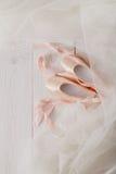 桃红色芭蕾pointe鞋子和芭蕾舞短裙在白色木背景 库存照片