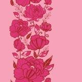 桃红色花和叶子垂直的无缝的样式 免版税库存照片