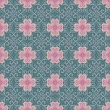 桃红色花和常春藤在绿色背景无缝的样式 免版税库存图片