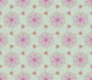 桃红色花和常春藤无缝的样式 免版税库存照片