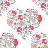 桃红色花和心脏在白色浪漫无缝的样式 库存照片