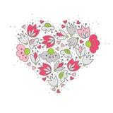 桃红色花和心脏在白色浪漫焦点 免版税库存照片