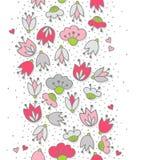 桃红色花和心脏在被加点的白色无缝的垂直的边界 免版税库存图片