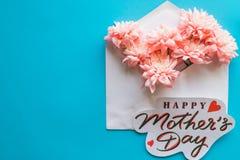 桃红色花和贺卡在蓝色背景 日愉快的母亲s 花卉贺卡概念,平的位置 母亲 库存图片