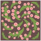 桃红色花和绿色叶子在紫色背景 图库摄影