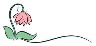 桃红色花商标  库存照片