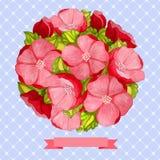 桃红色花圆的葡萄酒水彩花束  皇族释放例证