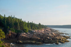 桃红色花岗岩平板在缅因排行坚固性海岸线 免版税库存照片