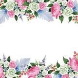 桃红色花束花 花卉植物的花 框架边界装饰品正方形 向量例证