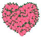 桃红色花的心脏 免版税图库摄影