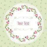 桃红色花边界和绿色小插图在浅绿色的叶子背景 图库摄影