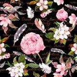 桃红色花,羽毛 时尚概念背景的无缝的花卉样式 水彩 皇族释放例证