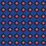 桃红色花,绿色词根,蓝色背景,样式, 免版税库存图片