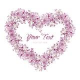 桃红色花 在心脏形状的花圈 与水彩的贺卡 库存图片