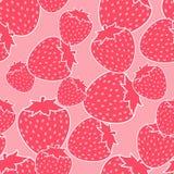 桃红色草莓无缝的样式 库存图片
