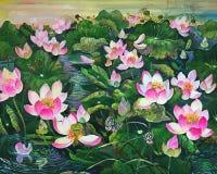 桃红色莲花和绿色叶子在池塘 免版税库存照片