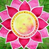 桃红色莲花和chakra绿色叶子签署标志,水彩绘画 库存照片