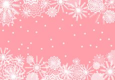 桃红色落的雪背景 雪花摘要 冬天雷 免版税图库摄影