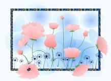 桃红色蓝色春天 图库摄影