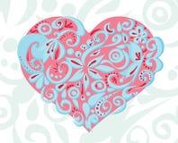 桃红色蓝色被雕刻的心脏 库存照片