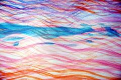 桃红色蓝色水彩挥动象形状,背景 免版税库存照片