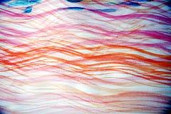 桃红色蓝色水彩挥动象线,抽象背景 库存图片