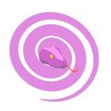 桃红色蛇 危险母爬行动物卷起了入球 Vect 向量例证