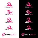 桃红色蜗牛线在白色和黑背景的商标传染媒介 库存图片