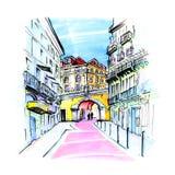 桃红色街道在里斯本,葡萄牙 向量例证