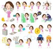 桃红色衣服企业中部年迈的women_money 免版税图库摄影