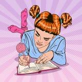 桃红色袜子的流行艺术女孩写在日志的 皇族释放例证