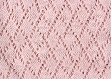 桃红色被编织的纹理冬天背景 免版税库存图片