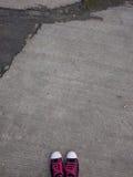 桃红色被系带的黑运动鞋 库存照片