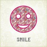 桃红色装饰样式微笑面孔剪影 免版税库存照片