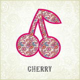桃红色装饰样式樱桃剪影 库存图片