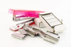 桃红色订书机 库存照片